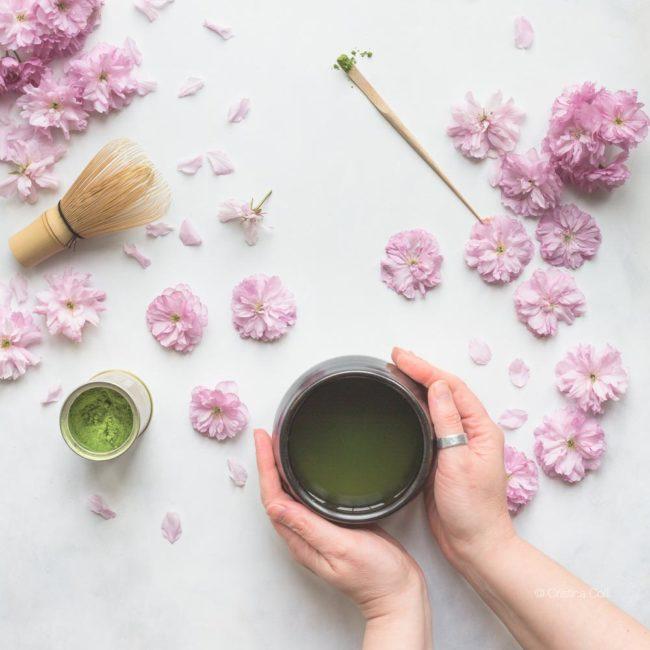 matcha tea spring blossom hands